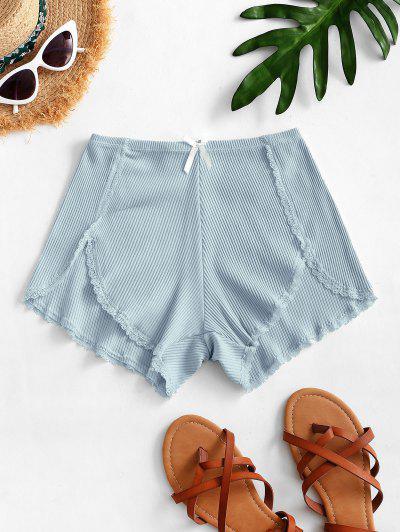 Ribbed Lace Trim Slip Shorts - Pastel Blue