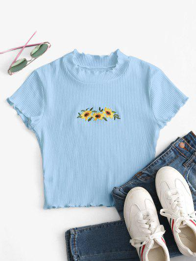 Floral Embroidered Lettuce Trim Crop Tee - Light Blue S