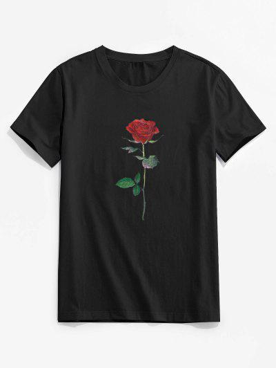 ZAFUL Rose Pattern Crew Neck Classic Tee - Black Xl