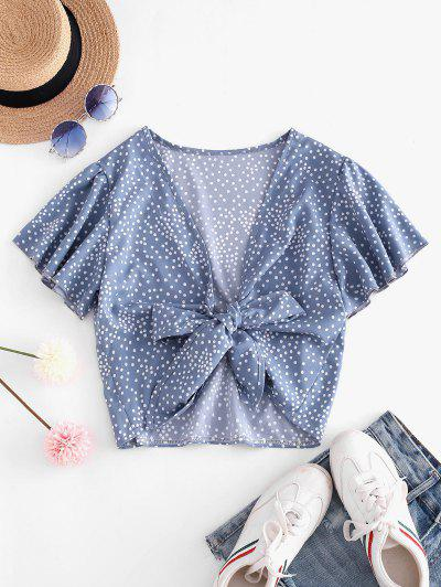 Tie Front Dotted Cropped Blouse - Light Blue M
