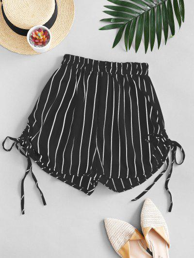 Striped Cinched Tie Casual Shorts - Black S