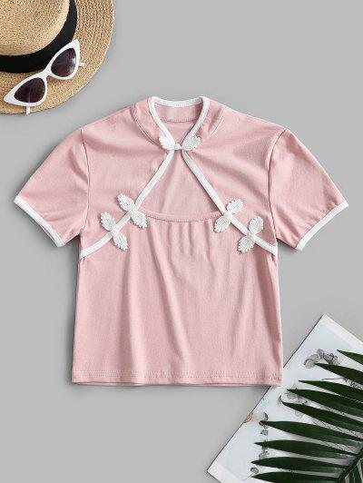 Cropped Cut Out Oriental Top - Light Pink