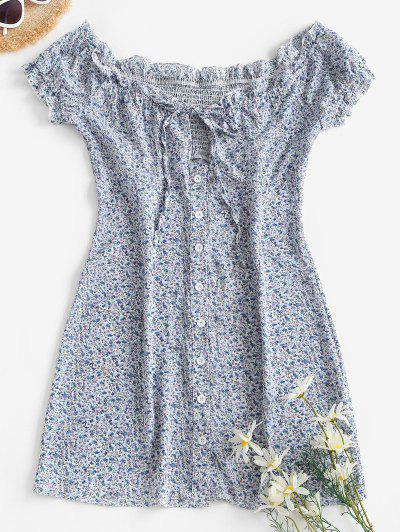 Ditsy Floral Button Front Frilled Tie Dress - Light Blue S
