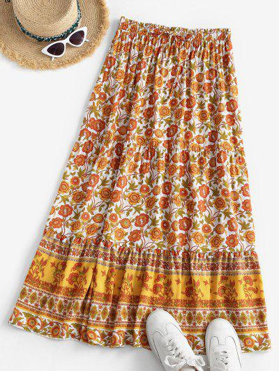 Bohemian Floral Drawstring Maxi Skirt - Yellow L