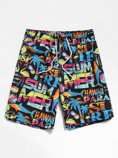 Beach Graphic Animal Pattern Hawaii Shorts - Black M