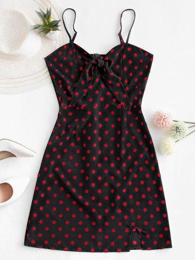 Polka Dot Knotted Slit Cami Summer Dress - Black S