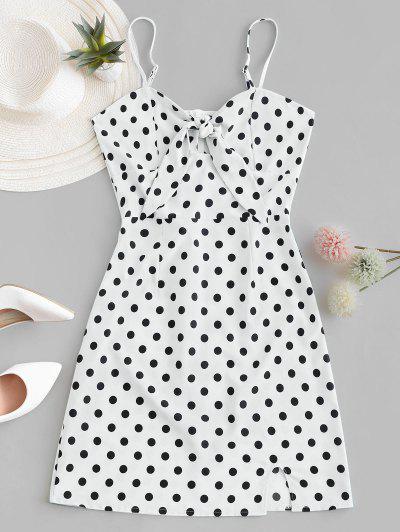 Polka Dot Knotted Slit Cami Summer Dress - White M