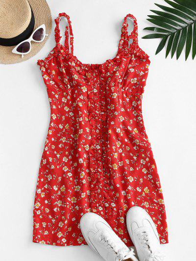 Ditsy Print Frilled Button Down Sundress - Red M