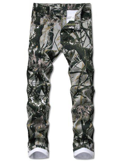 Pantalones Jeans Rectos De Patrón De Planta - Caqui Oscuro 32