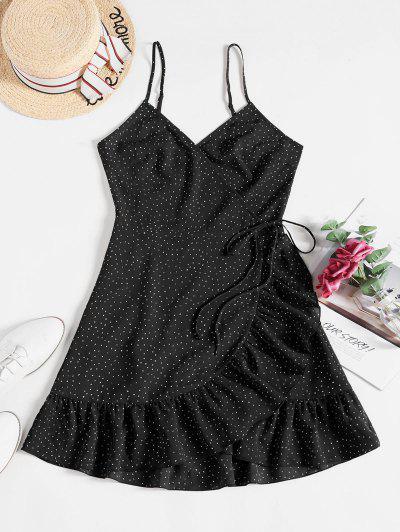 ZAFUL Ditsy Dot Cami Flounce Wrap Dress - Black S