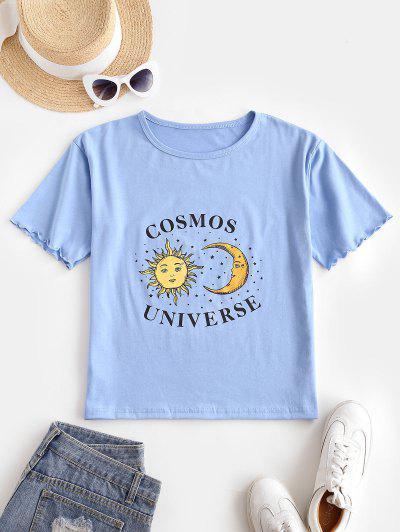 Sun Moon Star Lettuce Cuffs T-shirt - Blue