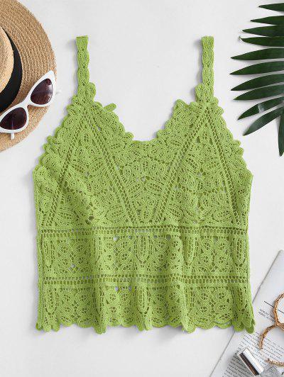 Solid Crochet Beach Top - Light Green