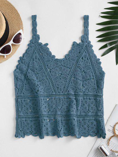 Solid Crochet Beach Top - Blue