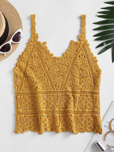 Solid Crochet Beach Top - Yellow