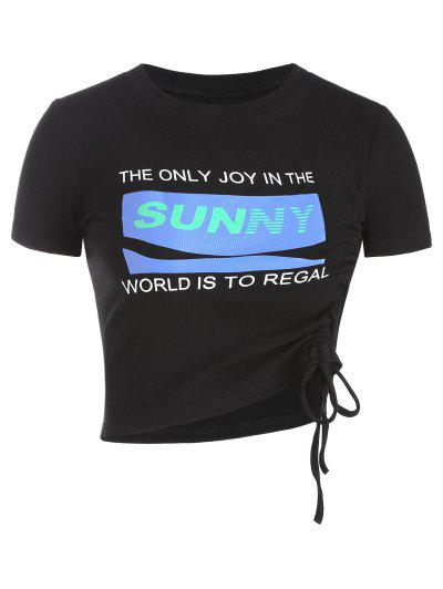 Sunny Graphic Ribbed Cinched Top - Black