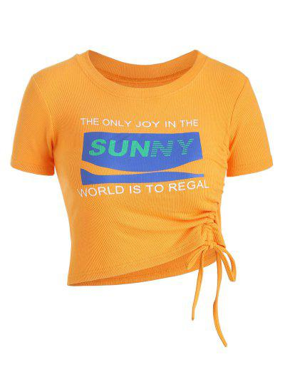 Sunny Graphic Ribbed Cinched Top - Light Orange