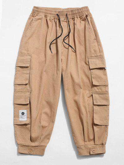 Solid Color Multi-pocket Decorated Cargo Pants - Khaki M