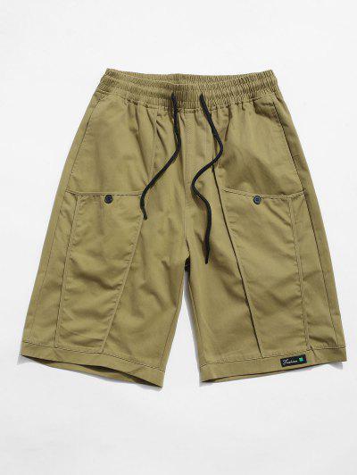 Buchstabe Dekoration Tasche Tunnelzug Shorts - Khaki Xs