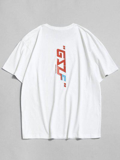 Round Neck Letter Print Slogan T-shirt - White 2xl