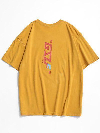 Round Neck Letter Print Slogan T-shirt - Yellow M