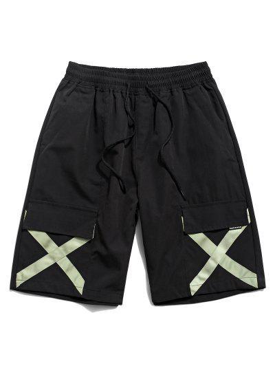 Crucea De Imprimare Multi-buzunar Pantaloni Scurți Casual - Negru M