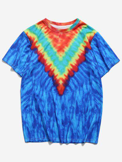 Tie Dye Print Short Sleeve T-shirt - Blueberry Blue 2xl