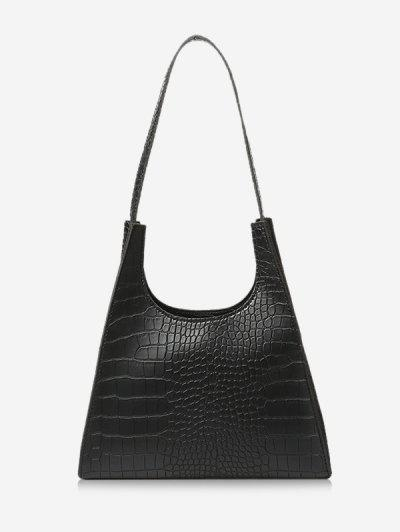 Retro Trapezoid Shape Shoulder Bag - Black