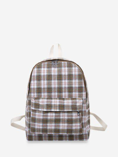 Plaid Print Canvas School Backpack - Light Green