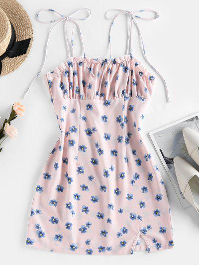 ZAFUL Floral Print Tie Shoulder Bodycon Dress - Pink S