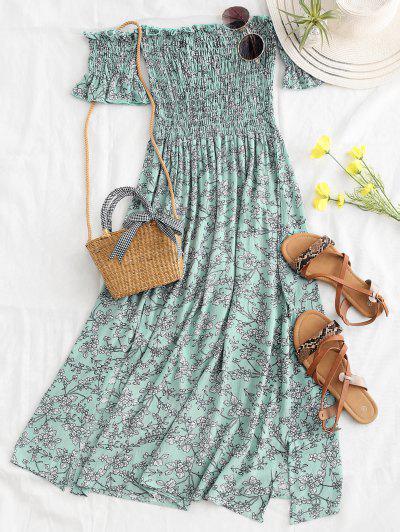 Robe Mi-longue Smockée Florale à Fente à épaules Dénudées - Vert Clair M