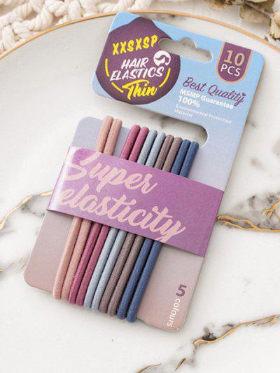 10Pcs Colored Hair Elastics Set - Multi-c