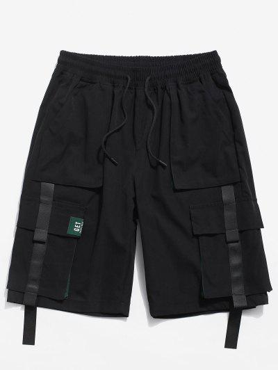 Color Spliced Pocket Decorated Shorts - Black M