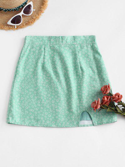 Notched Hem Ditsy Floral Mini Skirt - Light Green L