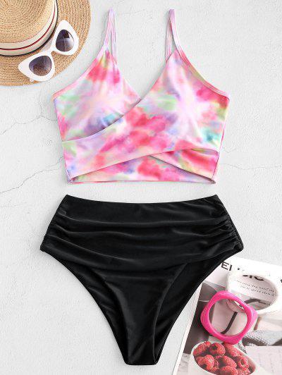 ZAFUL Tie Dye Cirss Cross Tankini Swimwear - Light Pink 2xl