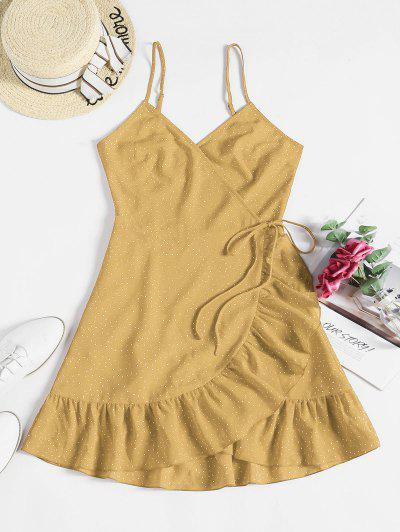 ZAFUL Ditsy Dot Cami Flounce Wrap Dress - Yellow S