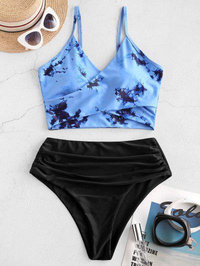 ZAFUL Tie Dye Cirss Cross Tankini Swimwear - Blue L