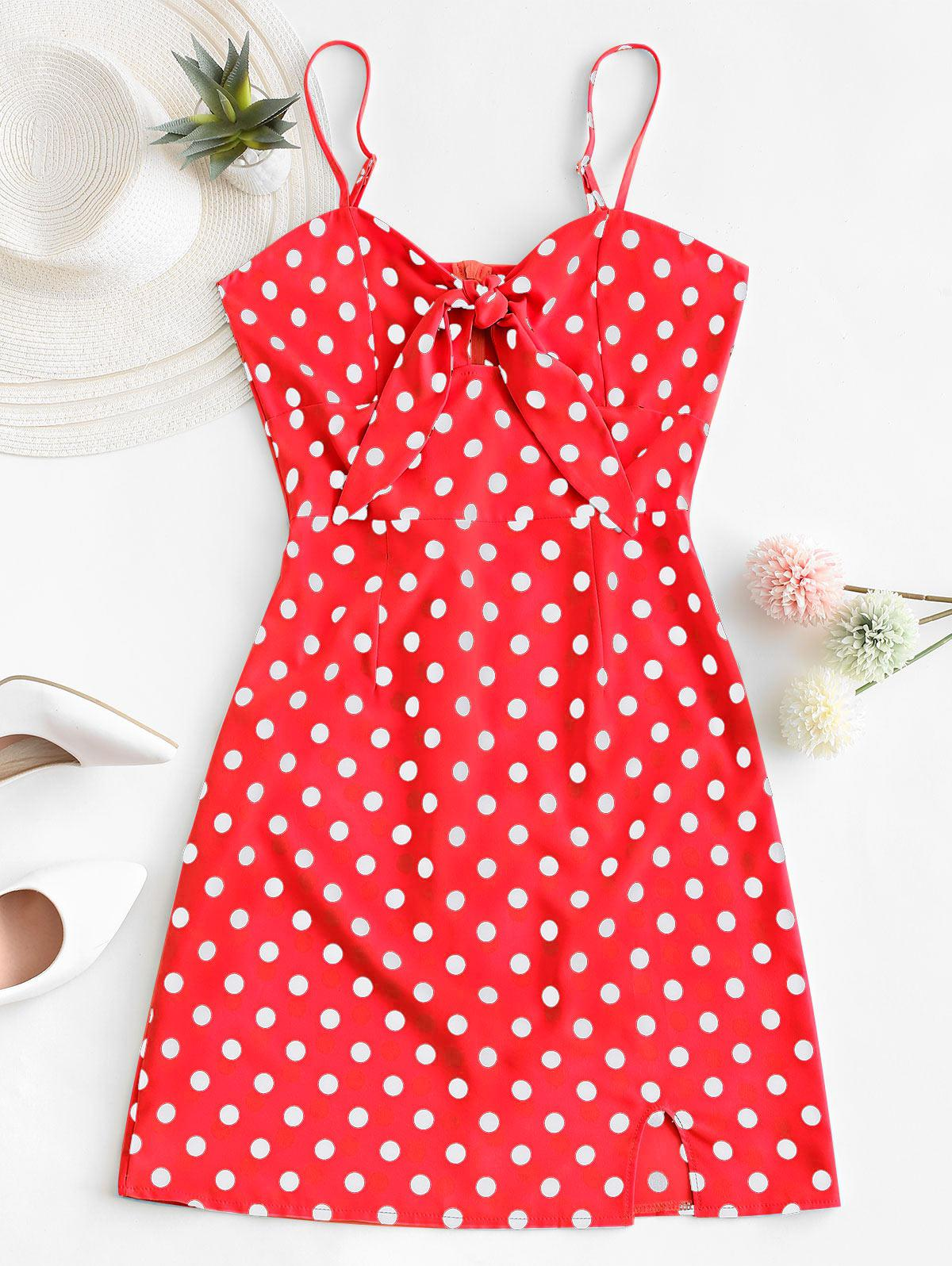 Polka Dot Knotted Slit Cami Summer Dress