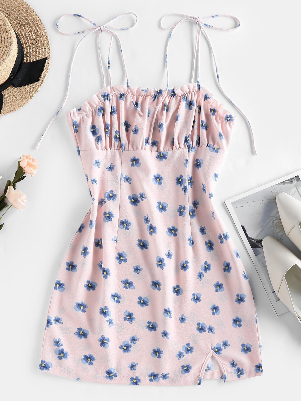 ZAFUL Floral Print Tie Shoulder Bodycon Dress