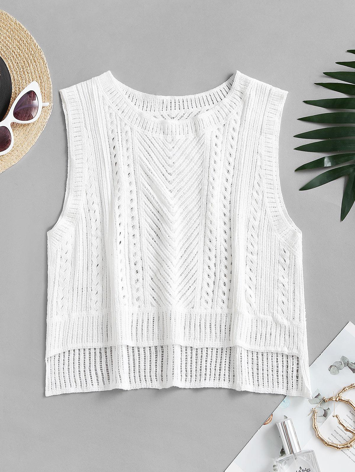 Solid High Low Crochet Knit Tank Top
