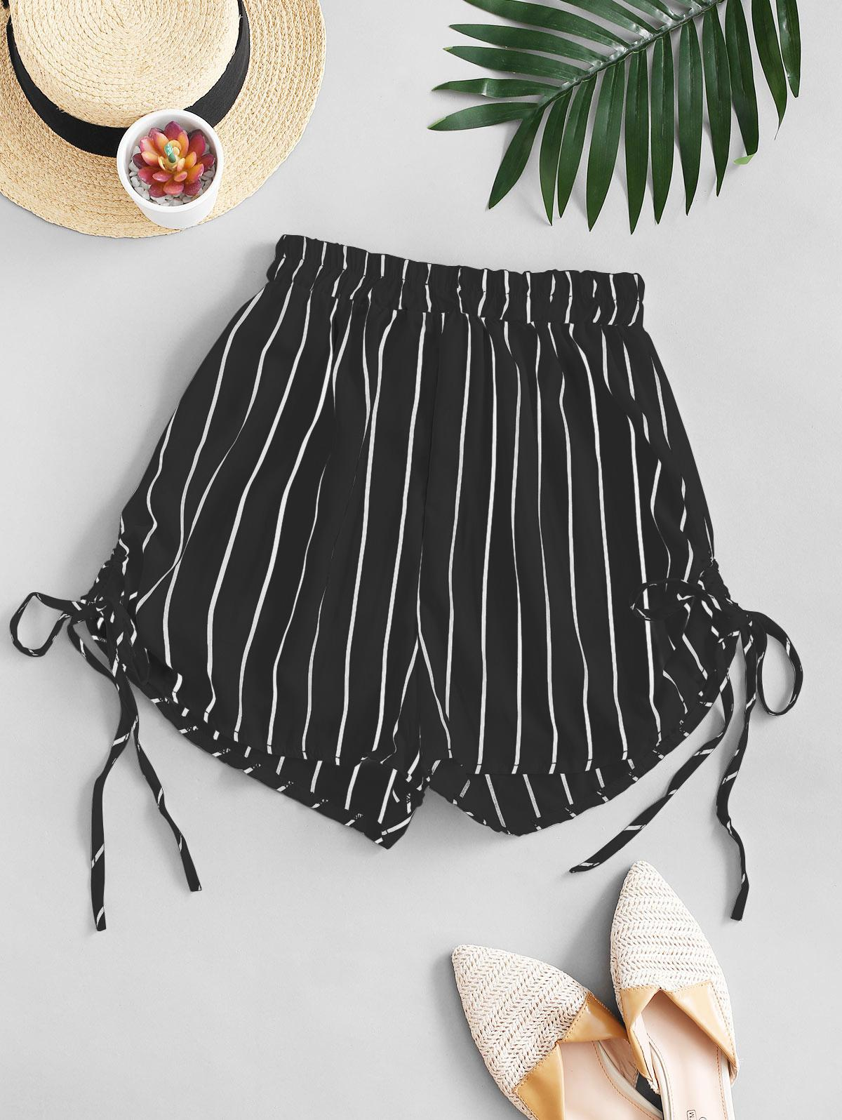 Striped Cinched Tie Casual Shorts
