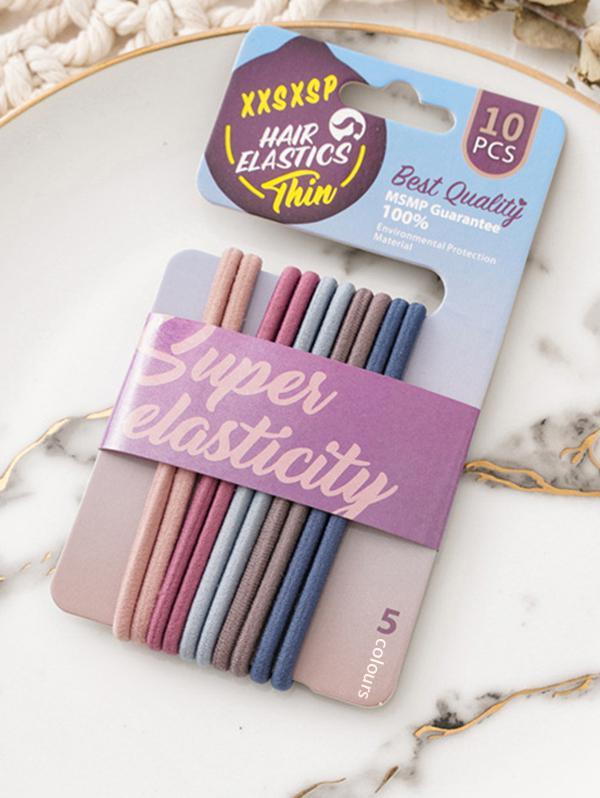 10Pcs Colored Hair Elastics Set