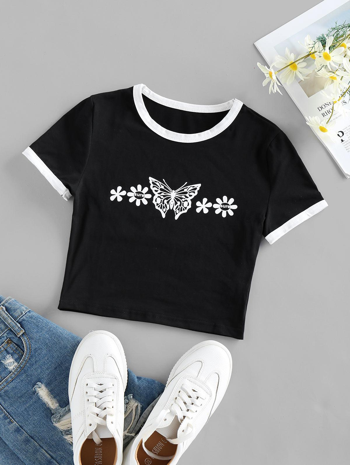 Floral Butterfly Print Ringer Crop Tee