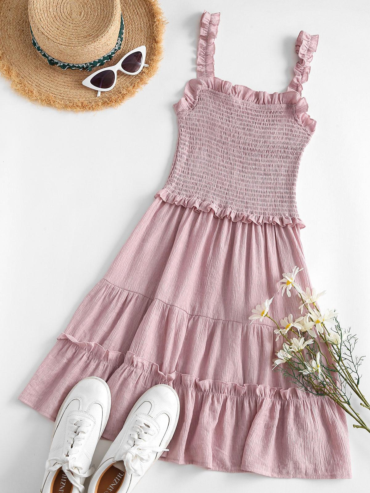 Lettuce Trim Smocked Mini Dress