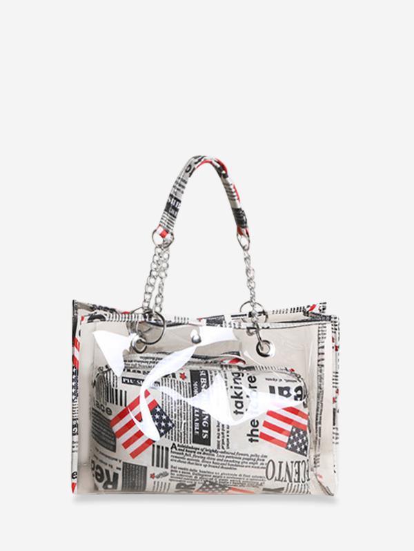 2 In 1 American Flag Print Transparent Tote Bag