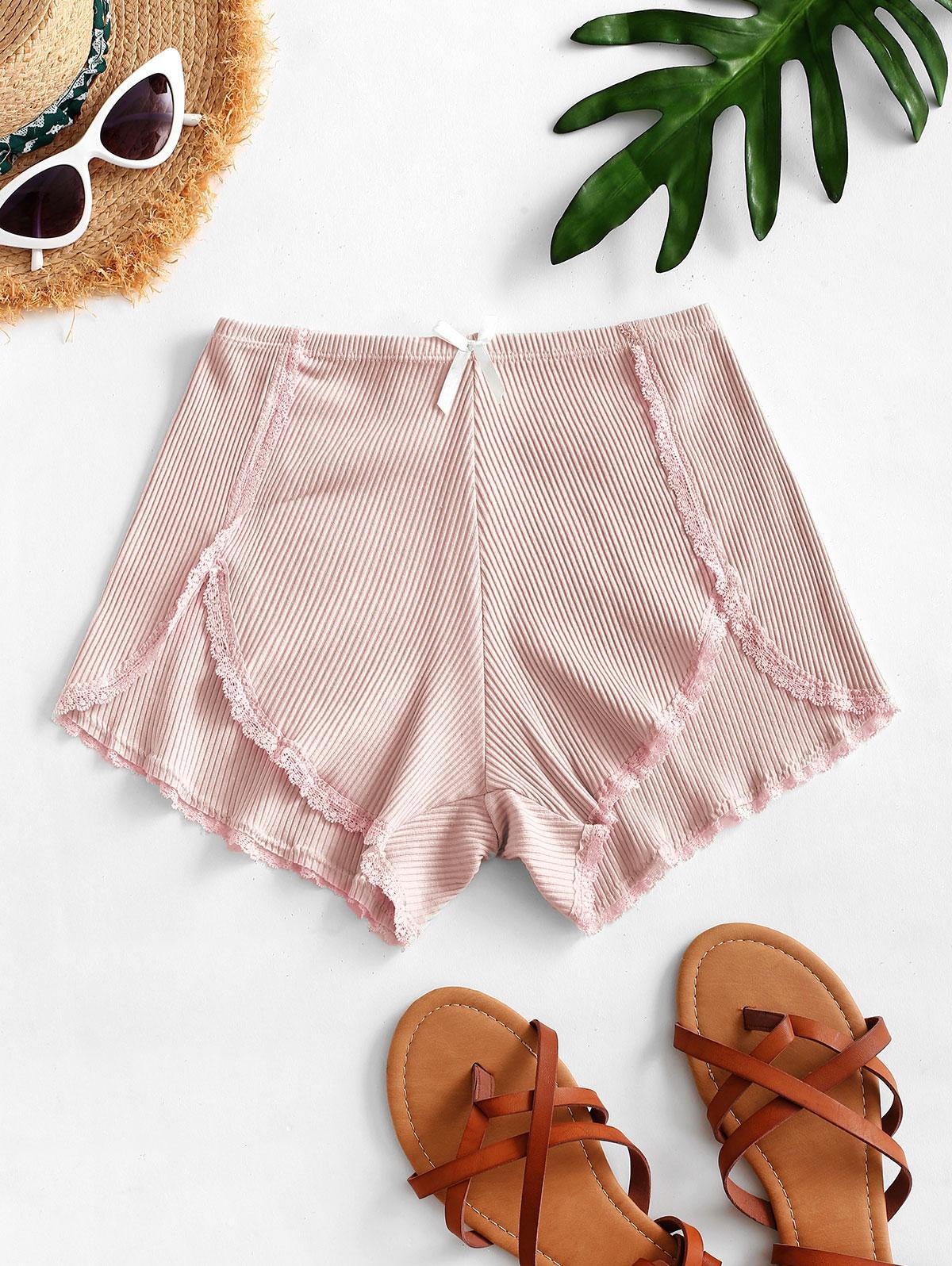 Ribbed Lace Trim Slip Shorts