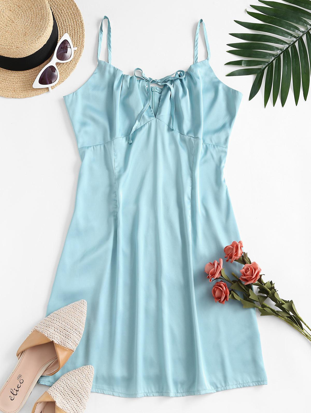 ZAFUL Tie Collar Silky Satin Cami Dress