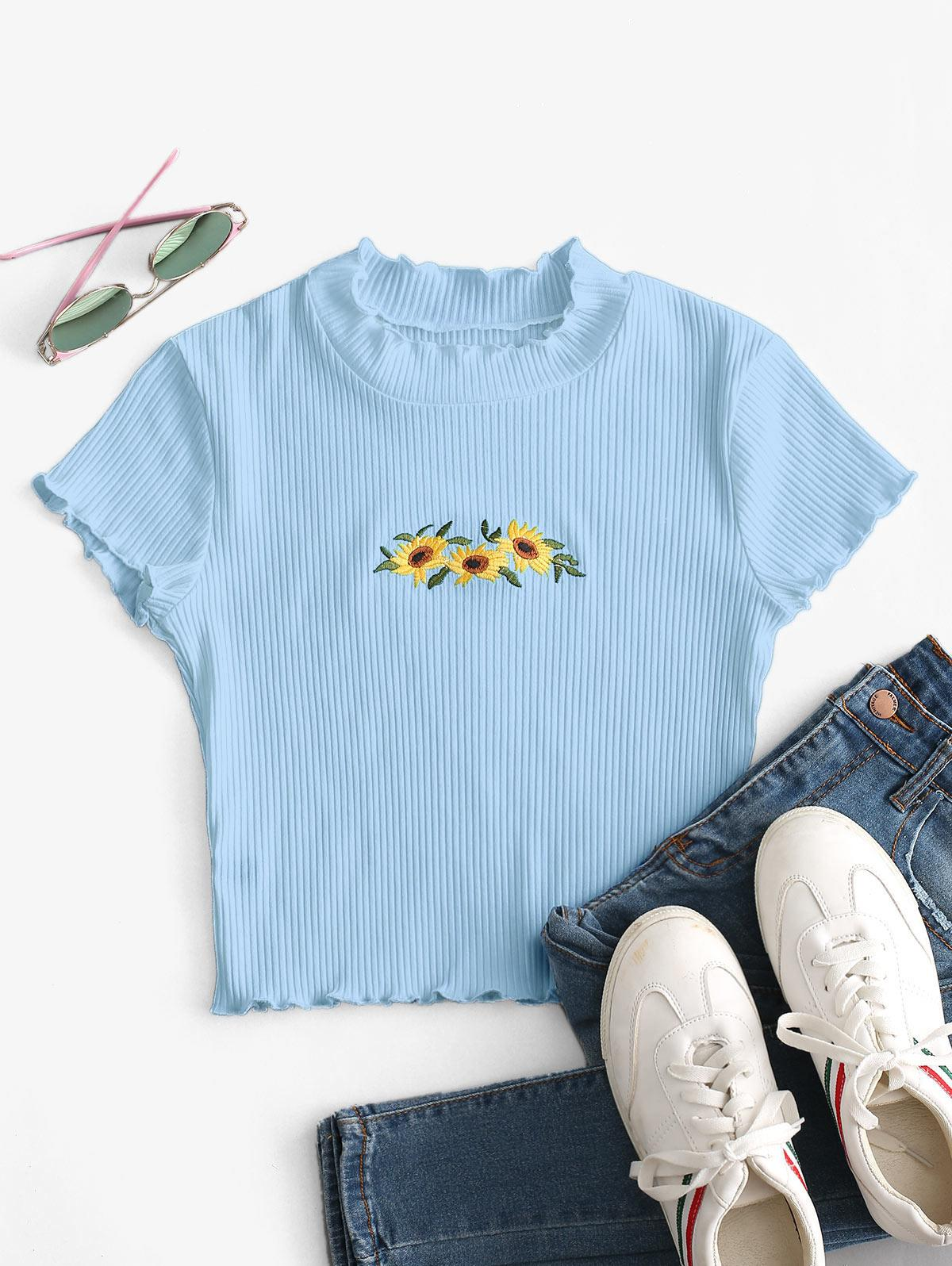 Floral Embroidered Lettuce Trim Crop Tee