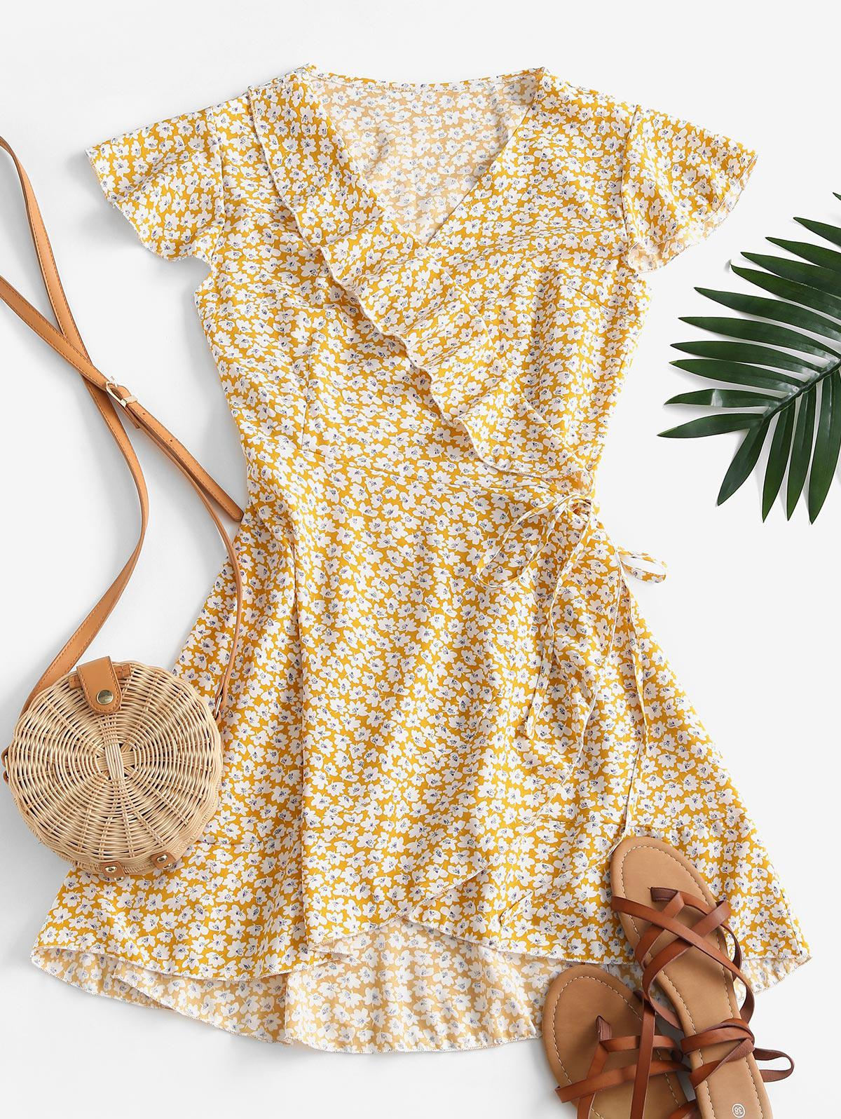 Ditsy Floral Ruffle Flutter Sleeve Wrap Dress