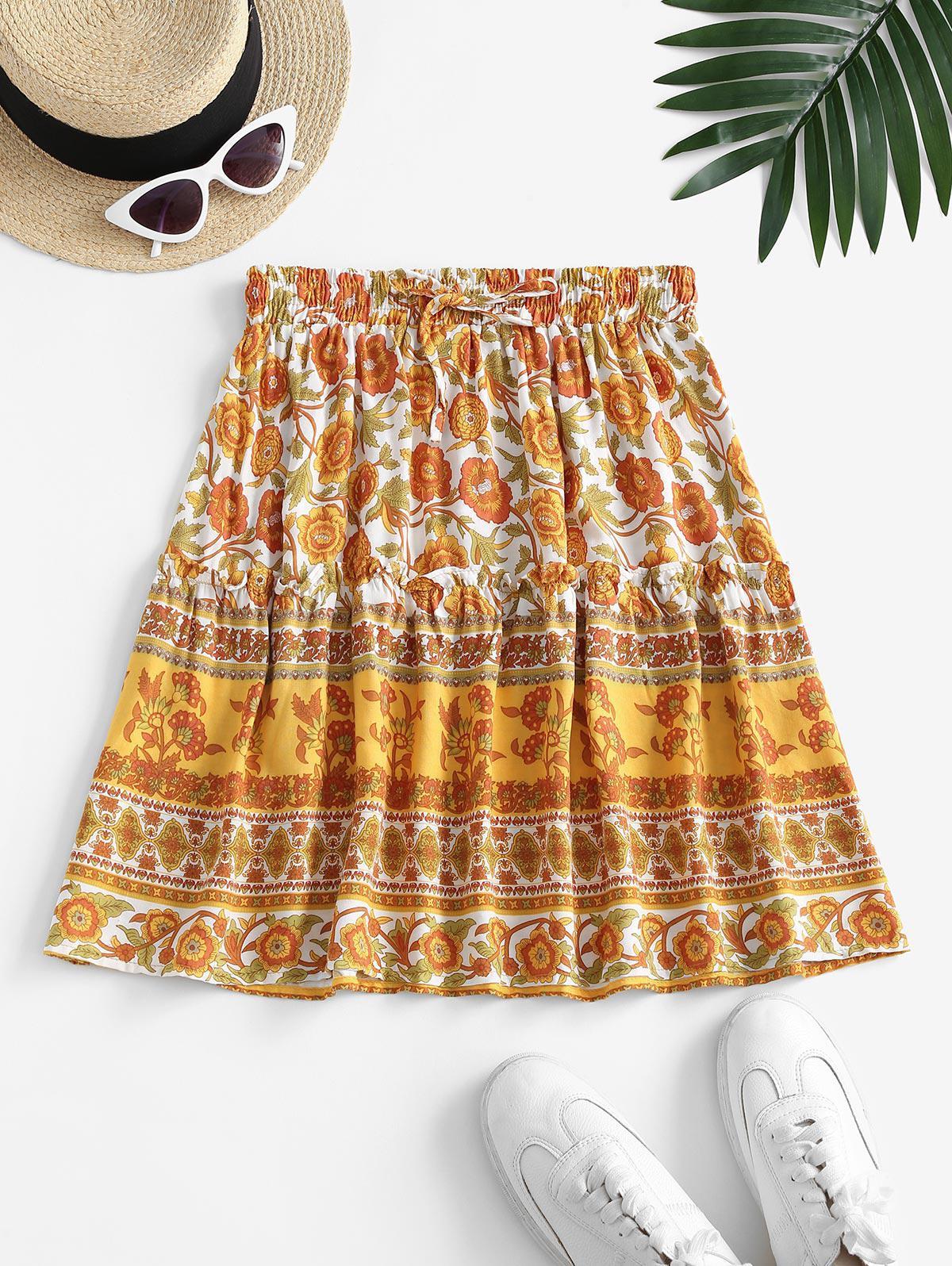 Flower Print Drawstring A Line Skirt