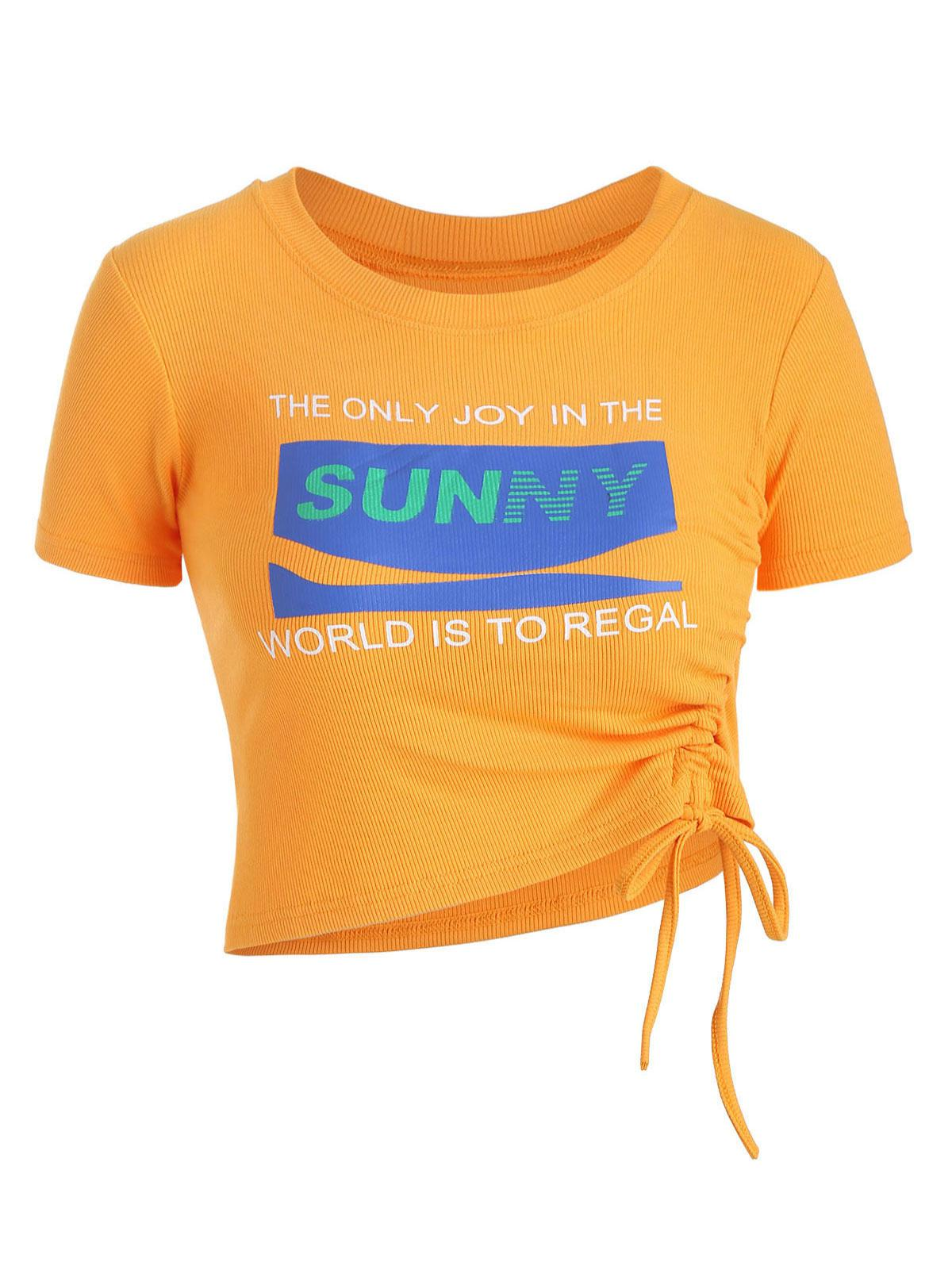 Sunny Graphic Ribbed Cinched Top